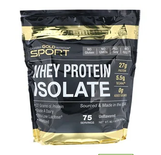 صورة Whey protein isolate 90% بدون نكهات – من شركة California Gold Nutrition